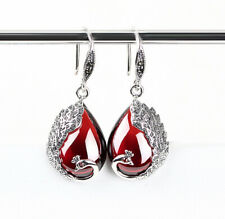 Vintage Antique Style 990 Pure Silver Red Natural Garnet Peacock Earring IE39