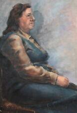 Old seated woman portrait vintage gouache painting