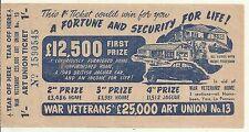 1949 WW2 WAR VETERANS ART UNION TICKET