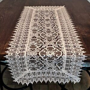Doily Boutique Table Runner, Doily, Mantel Scarf with White Sheer Floral Lace