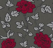 Red Grey Black Silver Floral Trail Wallpaper Glitter Shimmer Vinyl Textured