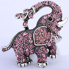Elephant stretch ring animal bling scarf jewelry gift silver purple crystal 6Q