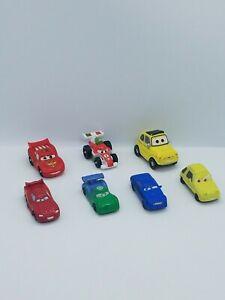 Lot Of 7 Disney Pixar Cars PVC Mini Figure Cake Toppers Micro Plastic Toys mixed
