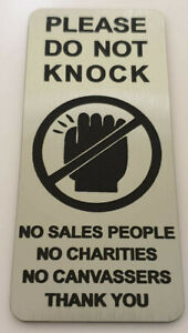 Please Do Not Knock Sign Plaque No Sales People Religious Groups Canvassers