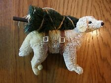 Pottery Barn Bottle Brush Yellow Lab Dog with Christmas/Xmas Tree Ornament-New