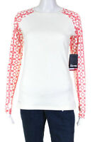 Nike Pro Womens Therma Fit Long Sleeve Blouse White Red Size Medium