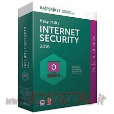 ANTIVIRUS KASPERSKY INTERNET SECURITY 2016 LICENZA ESD 3 Pc 1 Anno 355 Giorni