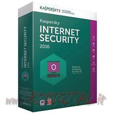 ANTIVIRUS KASPERSKY INTERNET SECURITY 2016 LICENZA ESD 3 Pc 1 Anno 355 Giorni