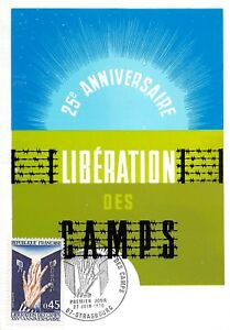 Karte Maximum FDC Frankreich 25e Jahrestag Libération Des Camps Juni 1970