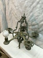 Vintage Lincoln Art Deco Cast Aluminum Hanging Chandelier Ceiling Light Fixture