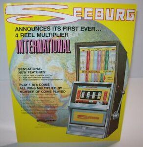 Seeburg International 4 Reel Slot Machine FLYER Original Vintage Artwork Sheet