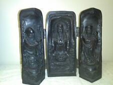 Asian Buddhist Triptych Carved Wood Folding Altar Shrine Icon Ornate
