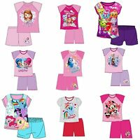 Girls Kids Baby Disney Pyjamas Short Sleeve T-Shirt & Shorts Set Age 1-10 Years