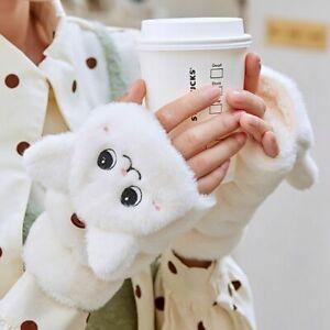 Women Girl Winter Fur Rabbit Mittens Fingerless Gloves Plush Warm Thick GB