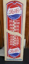 """VINTAGE 70'S """" PEPSI COLA METAL SIGN AND THERMOMETER """" IN BOX NEVER USED  IN BOX"""