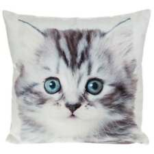 Mini Visage Luxurious Soft Velour Lifelike Cute Kitten Print Cushion 22cm