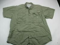 Columbia PFG Vented Shirt Short Sleeve Button Front Green Pockets Adult Large