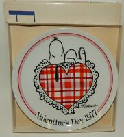 Vintage Schmid Peanuts Snoopy 1977 Valentines Day Plate 1st Edition w/ Box