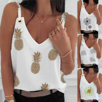 Womens Sleeveless Tank Tops Ladies Floral V Neck Cami Loose Vest T Shirt Blouse