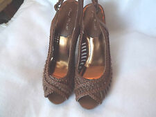 "Anne Michelle ""Sandy"" brown platform shoes peep toe sling backs New 7.5 M"