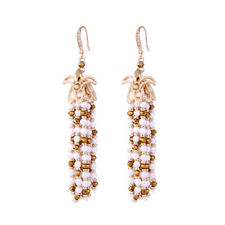 Boucles d'Oreilles Doré Pompon Long Mini Perle Blanc Retro Style Artisanal XX23