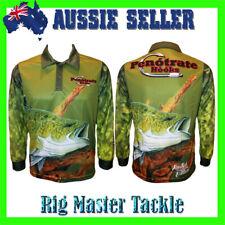 Long Sleeve Murray Cod Fishing Polo Tournament Shirt Adults S-9XL Aussie Stock