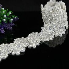 1 Yard Rhinestone Applique Trim Wedding Bridal Crystal Applique for Dress Sash
