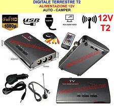 TV DVB-T2 DIGITALE TERRESTRE T2 12V PER AUTO CAMPER USB / RCA / HDMI
