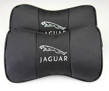 2pcs Black Auto Car Seat 100% Cowhide Neck Rest Belt Headrest Pads Protect for