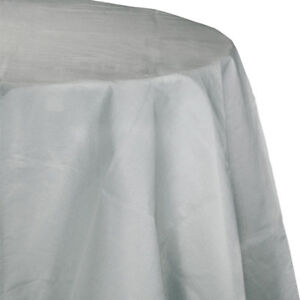 """Silver 2/Ply Paper-Poly Round Tablecloth 82"""" Tableware Supplies Decorations"""