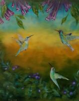 BIRD PARADISE Original oil Painting Stretched Canvas,Hand Signed by artist W/COA