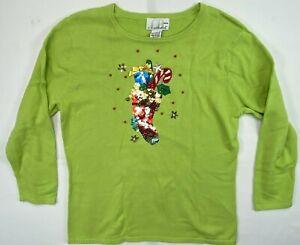 C.B. Casual Lime Green Shirt Petite Medium Happy Holidays Stocking Christmas PM