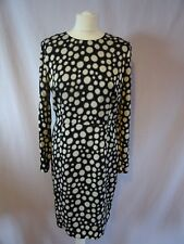 Whistles Junya Bodycon Dress in Spot Print Back white size 14