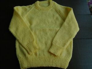 """New Hand Knitted Yellow Sweater 24/26"""" chest (aprox 3/4 yrs)"""