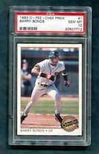 1993 BARRY BONDS OPC #1 O PEE CHEE PREMIER GIANTS PSA 10