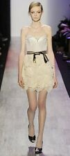 $498 BCBGMAXAZRIA Runway Chiffon Strapless Ruffle Woven Corset Dress Beige 2 XS