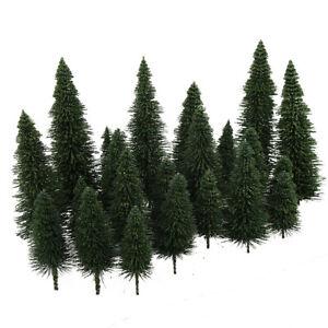 40pcs Miniature Scenery Model Pine Trees Deep Green Pines For HO O N Z Scale