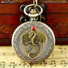 New Quartz Pendant Necklace Chain Pocket Watch Bronze Retro Steampunk Mens Gift
