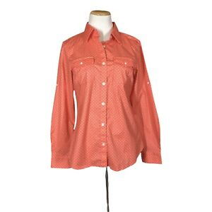 NWOT L.L. Bean Women's S Button-Up Shirt Stretch Coral Polka Dot Long Sleeve
