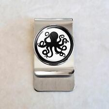 Stainless Steel Money Clip Octopus Silhouette Spy Secret Agent