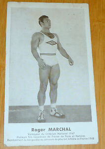 ancienne carte roger marchal recorman DE FRANCE POIDS HALTERES  1948