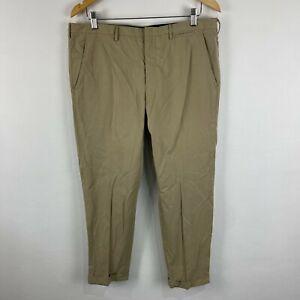 Prada Milano Mens Pants IT 48 W34 Beige Zip Closure Straight Chino