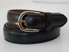 "L Size 38-40 Men's BLACK Double Stitched Genuine Leather Dress Belt Width 1 1/8"""
