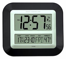 Radio Controlled Wall Clock Jumbo LCD With Temperature and Humidity Display