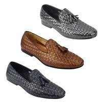 Mens Tan Navy Real Basket Woven Leather Flat Tassel Loafer Vintage Driving Shoes
