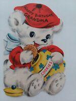1954 Vtg Fuzzy BEAR w COOKIE Jar GRANDMA BIRTHDAY Hall Brothers GREETING CARD