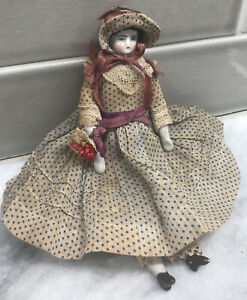 Antique Miniature Germany Dollhouse China Head Doll 19th c