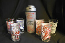 Cocktail Shaker & 6 Illustrated Glasses Vintage Barware Set Songs Lyrics Recipes