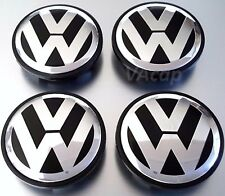 NEW VW VOLKSWAGEN WHEEL RIM CENTER CAPS CHROME LOGO   3B7601171XRW    4pcs Black