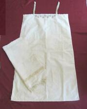 19C. ANTIQUE LADIES COTTON LONG SHIRT SLEEPING SLIP & HAND WOVEN TOWEL